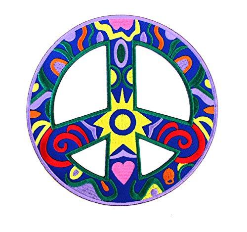 Écusson brodé Peace Paix Soleil Hippie -16 cm x 16 cm Grande Taille XL - Patch Iron on Patches Sew on Ecussons Imprimés Thermocollants Appliques Applications sur Vêtements Jeans - Treasure-Quest