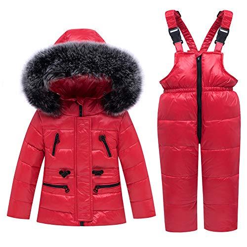 SANMIO Baby Mädchen Winterjacke Warm Schneeanzug Daunenjacke Skianzug Süß Schneeanzug Mit Kapuze + Schneelatzhose Down Jacket 2tlg Bekleidungsset Verdickte