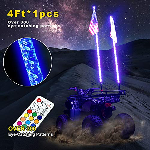 OMUOFFROAD 4FT LED Whip Lights 360° Twisted Antenna Dream Wrapped Dancing Whips For Polaris RZR ATV Antenna Whip UTV Quad Sand Dune Buggy Flag Poles For Trucks w/Remote Control -One Whip