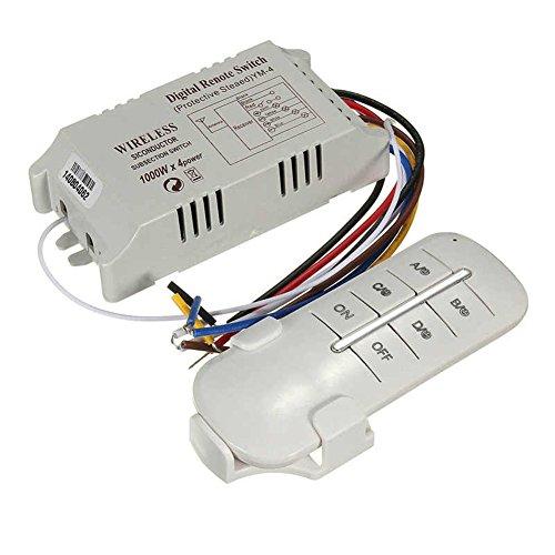 SaySure - Mando a distancia inalámbrico de 4 canales ON/OFF de 220V de la lámpara