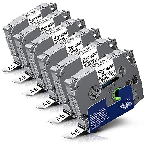 6x Labelwell 0.47 12mm x 8m White Kompatibel Schriftband Ersatz für Brother Tz Tze-231 Tze231 TZ231 Schwarz auf Weiß für Brother P-Touch Cube Plus PT-D400 PTH105WB PTD210 PTH110 PTD600VP H107B H100LB