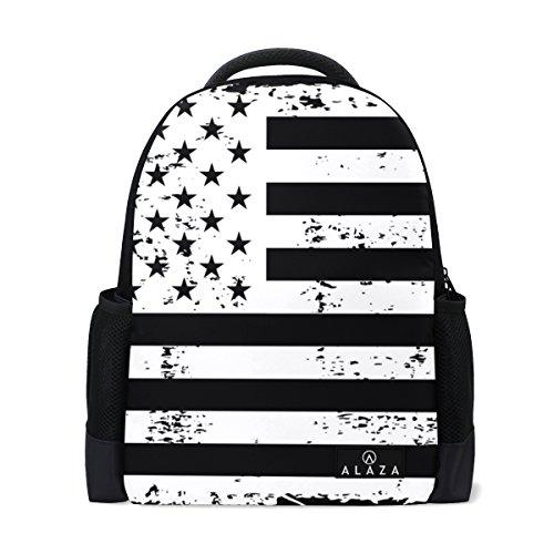 My Daily American Flag Mochila Vintage Negro Blanco 14 Pulgadas Portátil Daypack Bookbag para Viajes Universidad Escuela