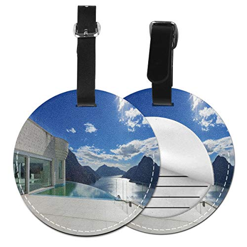 Round Travel Luggage Tags,Modern Summer Penthouse with Infinite Pool Ocean Sea Scenery Image,Leather Baggage Tag