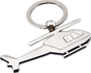 ODETOJOY Metal Silver Heilicopter Keychain Plane Key Chains Alloy Rust Resistant Pilot Key Holder Airplane Keycharm Rack Aircraft Toy Key Ring for Boys Thank you Gift