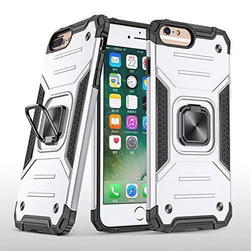 COOVY® Funda para Apple iPhone 7 + Plus / 8 + Plus Carcasa de PC + Silicona TPU + PC, Protección extrafuerte, función Atril, Anillo de Soporte y Soporte magnético   Lata