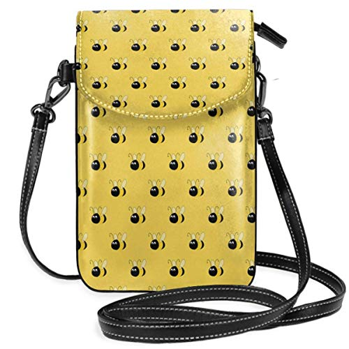 DJNGN Bee Small Crossbody Cell Phone Purse Bag Smartphone Wallet Purse with Removable Strap