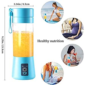 Portable Blender, Juicer Cup, 2000mAh Battery, Powerful Personal Size Blender, USB Rechargeable, for Fruits, Smoothies and Milkshakes, Suitable for Household Juicer/Outdoor Activities (blue)