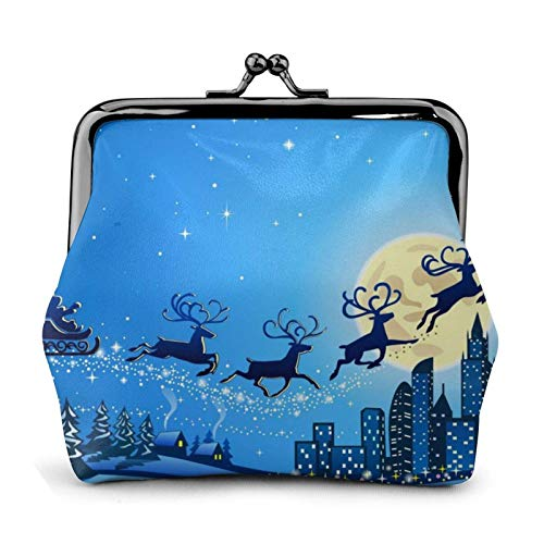 Happy Christmas Reindeer Coin Purse Wallet Bule -Lo Small Leather Change Pouch Gift for Women