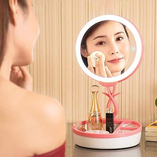 YANQING Duurzame Touch Schakelaar USB Opladen Kleurrijke Make-up Spiegel LED Bureau Lamp Sfeer Licht Met Opbergdoos, DC 5V 19.2 * 19.2 * 7,8cm Oplichting levensduur (Kleur : Roze, Kleur:Blauw
