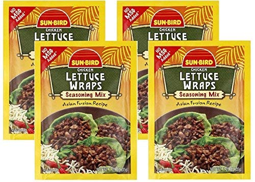 Lettuce Wrap Seasoning Mix Packets - Asian Fusion Recipe for Chicken - 1.25 Ounce Each (Pack of 4)