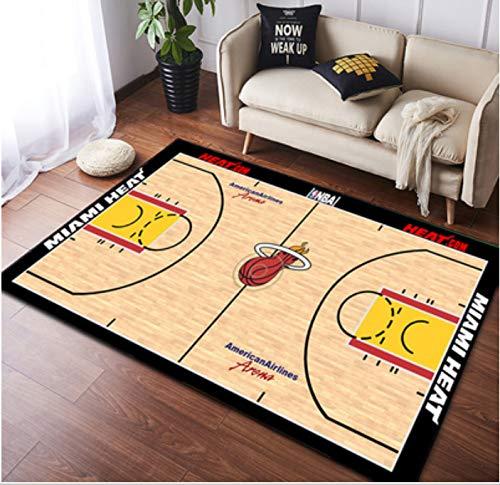 zzqiao Tappeto NBA Basket Giallo Heat Team Floor Camera dei Bambini personalità in Stile Europeo E Americano Soggiorno Creativo Camera da Letto Comodino Rettangolare Antiscivolo 60 * 90 Cm