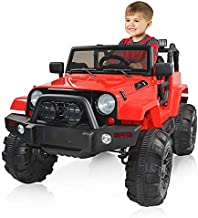 angstep Kids Electric Car 12v Battery Car for Kids w/ 3 Speed, 2.4G Remote Control, LED Lights, Spring Suspension, Backward Function Suspension, MP3, Horn.