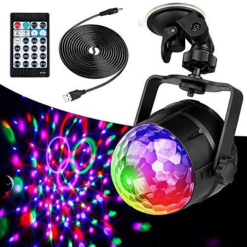 Luces de discoteca, luces LED de bola de discoteca activadas por sonido con cable USB de 4 m y soporte de succión, luces de fiesta con control remoto para cumpleaños de niños, fiesta en casa, B