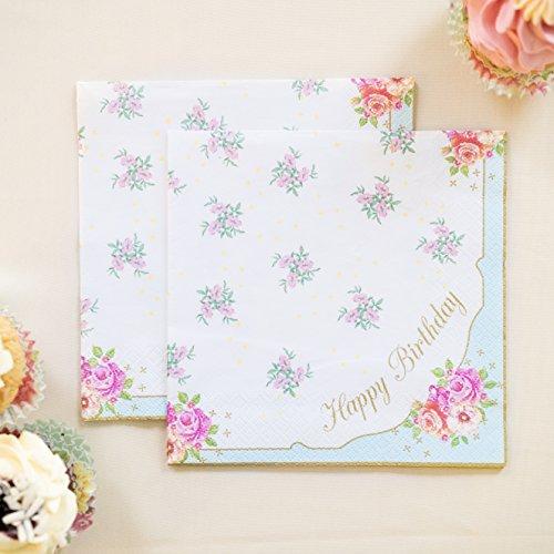 Talking Tables Truly Scrumptious Serviettes en Papier « Happy Birthday » avec Motif Floral pour Goûter Festif et Fête d'Anniversaire, Multicolore (Paquet de 20)