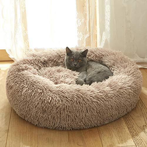 Hanacat ペットベッド 犬用ベッド 猫用ベッド クッション 丸型 毛足の長いシャギー ふわふわ 可愛い 小型犬用 キャット用 洗える ブラウン 直径60cm