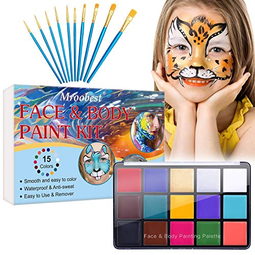 Face Painting Kits for Kids, Face Paint Makeup Palette, Face Body Paint Oil for Adults, Safe& Non-Toxic Water Based Paint, 10 Brushes, Professional Halloween Birthday Makeup Kit, 15Colors