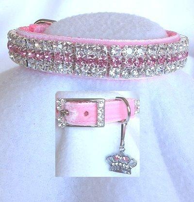 Pink Velvet Princess Rhinestone Pet Dog Cat Collar Sz Small