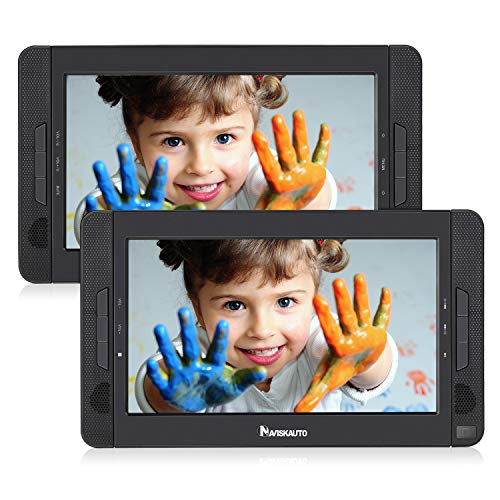 NAVISKAUTO 10.5' Portable Car DVD Player Dual Screen, Headrest Video Player with 5-Hour Built-in Rechargeable Battery, Last Memory and Region Free