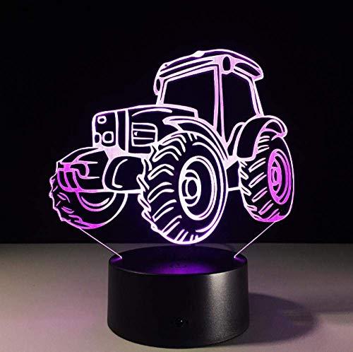 Ilusión visual 3D luz de noche pequeña luz de humor forma de tractor lámpara de mesa LED USB 7 colores interruptor táctil intermitente decoración de dormitorio luz para regalos de Navidad para niños