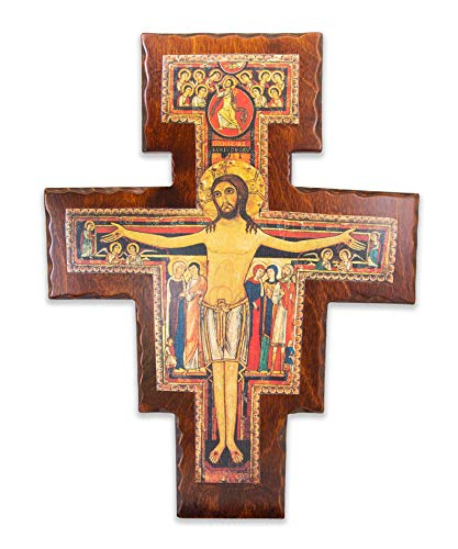 La Balestra Crucifijo San Damiano de madera – con base extraíble – Fabricado en Umbria Italia (37 x 25,5 x 1,2)