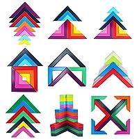 Lewo di Legno Arcobaleno Gioco impilabile Geometria Costruzioni Creativo annidamento Giocattoli educativi Bambini Piccoli #1