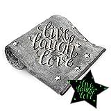 "Glow in The Dark Blanket Christmas Idea Live Laugh Love Super Soft Fleece Fuzzy Wrap Blanket for Boys Girls Toddlers Kids Teens Women Birthday Throw Blanket Unique Gifts 50"" x 60"" (Grey)"