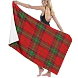 Yuanmeiju Unisex Scottish Tartan Plaid Bath Towel Adult Soft Microfiber Printed Toalla de Playas Travel Towel 32x52 Inches
