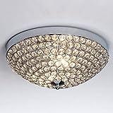 SOTTAE Elegant 2 Lights Crystal Cental Shade Chrome Finish Bedroom Living Room Hallway Kids Room Modern Crystal Chandelier Ceiling Light, Ceiling Chandelier Size 11.8'(14# Size Bead)
