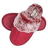 Jessica Simpson Women's Comfy Faux Fur House Slipper Scuff Memory Foam Slip on Anti-skid Sole, Burgundy, Medium