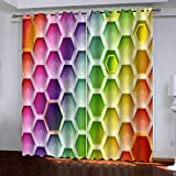 xszhqxxla Cortinas Salon Opacas Hexágono Geométrico Colorido 170X200Cm...