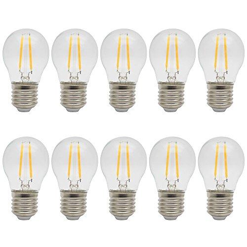 10X E27 Bombilla LED Filamento 2W LED de Edison Ahorro de Energía Bombillas Vintage LED Blanco Cálido 3000K Sustitución del Incandescente 20W Bombilla Edison AC 220V