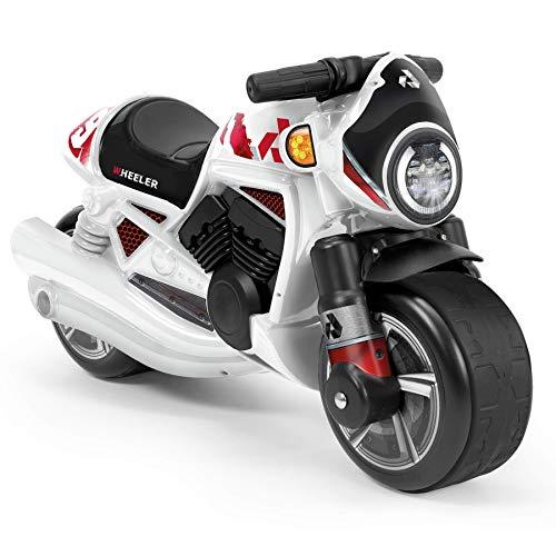 INJUSA - Moto Cavalcabile Wheeler Bianco Raccomandato per Bambini +18 Mesi con Bande di Gomma sulle Ruote