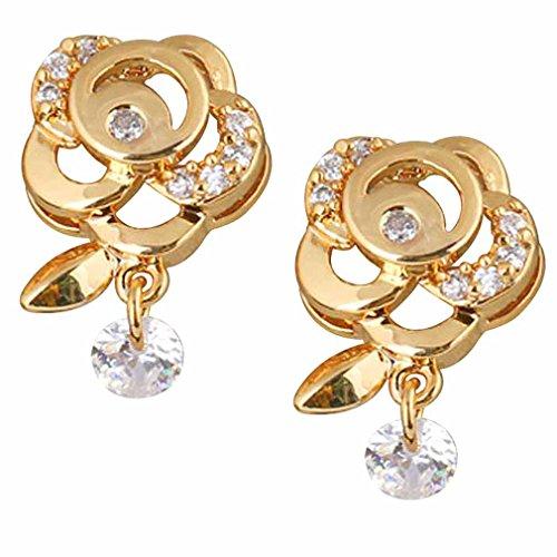 Yazilind elegante 14K Gold Filled Ronda Stud Pendientes Circonita Rosa Flor de Idea regalo de las mujeres