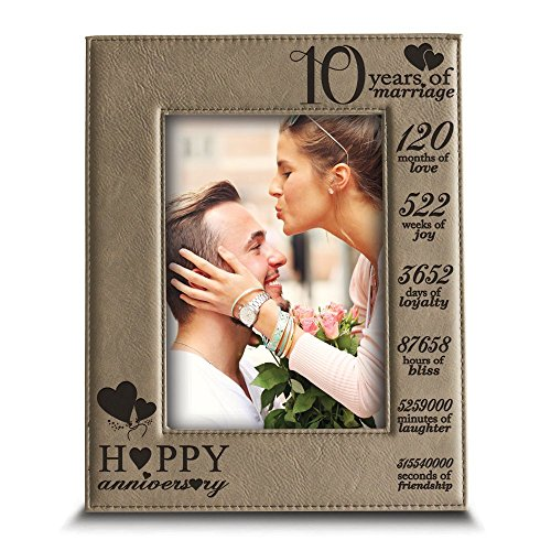 Bella Busta-Happy 10th Anniversary-10 Years of Marriage, Months, Weeks, Days, Hours, Weeks, Minutes, Seconds-10 years anniversary-Engraved Leather Picture Frame (4'x 6' Vertical)