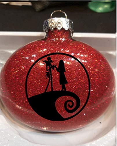 Toll2452 Adorno de Navidad Pesadilla antes de Navidad Jack Skellington Sally Halloween con purpurina roja irrompible ornamento bola