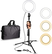 """Aureday 8"""" Selfie Ring Light with Cell Phone Holder, LED Lightning Tripod Stand with Carry Bag for Makeup & YouTube Stream, Fits iPhone & Android Phone"""