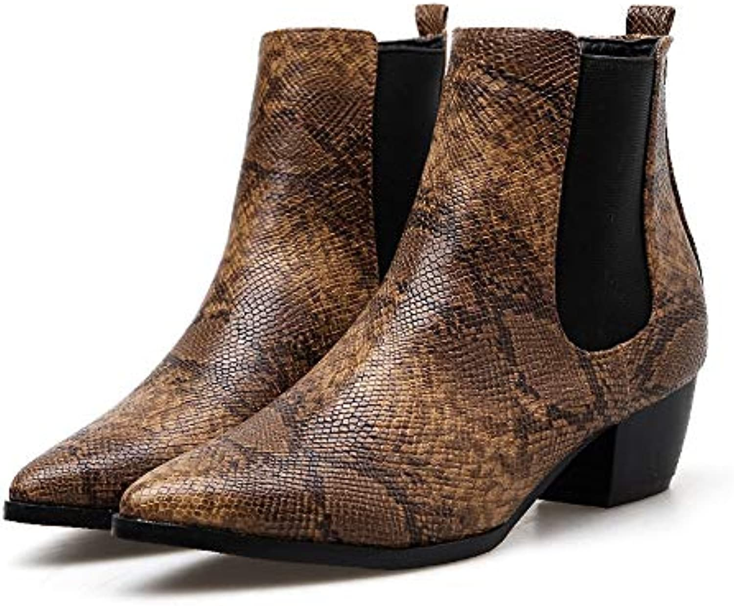 DongDong Stylish Snakeskin Ankle Booties- Women's Pointed Toe Belt Buckle Thick Boot Seasonal Offers