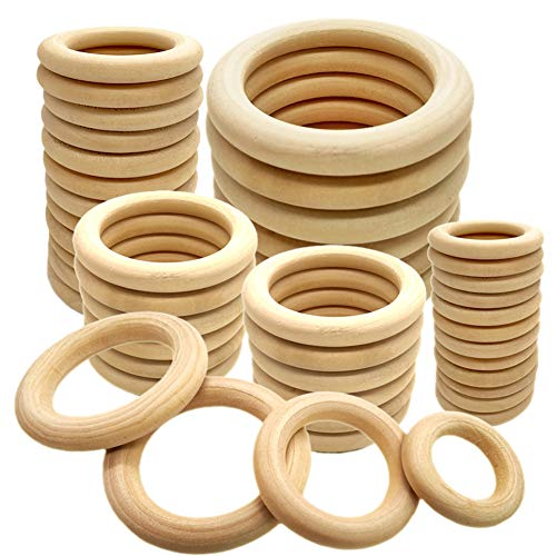 42PCS Natural Wooden Rings Unfinished Solid Wooden Ring Wood Rings Smooth Wooden Teething Ring for Craft DIY, Handmade Decorations, Jewelry Findings Ring Pendant