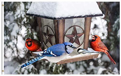 LAKILAN Blue Jays Cardinals Christmas Birds On Bird Feeder In Seasonal Winter Snow Tree Decorative Flag,Seasonal Garden Flag 3'X5',Yard Banner,Indoor/Outdoor Wall Banners,Breeze Flag,Polyester Flag