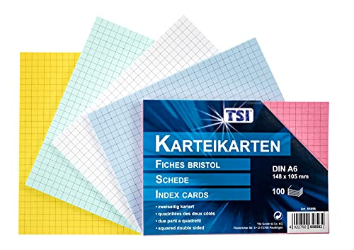 TSI 65856 Karteikarten A6, 100er Packung, kariert, farbig sortiert