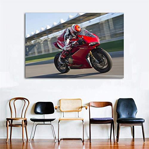 nr Sport Bike Ducati 1299 Panigale S Racing Motos Carteles e Impresiones en Lienzo Arte de la Pared Pintura para la decoración de la Sala de Estar 60X90cm Sin Marco