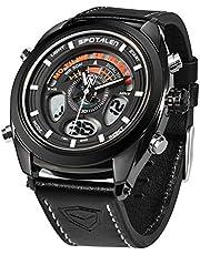 腕時計 メンズ時計 多機能 スポーツ ウォッチ 革バンド アナデジ表示 30M防水 バックライト ビッグフェイス ブラック