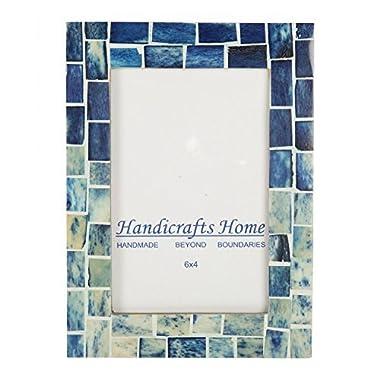 Indigo Mosaic Photo Frame Bone Handmade Picture Frames from Hanidcrafts Home Size 4x6x1