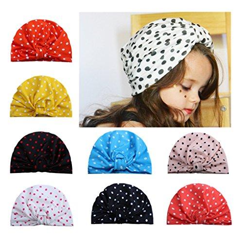 LAEMALLS 8 Stücke Baby Mütze, Baby Turban, Baumwolle Elastische Cap, Mehrfarbig Turban kann für den Alltag verwendet werden, Geeignet für alle Jahreszeiten, Kopfzubehör für fast Babys (0-8 Jahre)#4