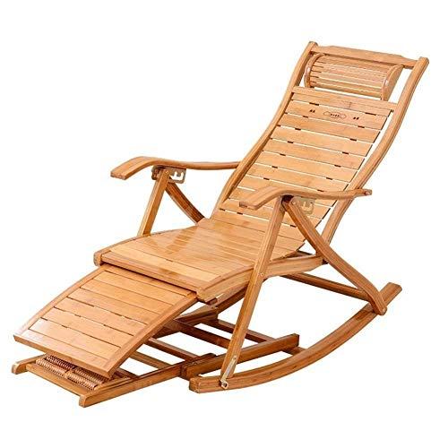 Tedyy Sedie a sedie reclinabili da giardino pieghevoli, sedie a sdraio regolabili sedia a dondolo Bamboo salotto per patio o spiaggia, balcone, parco o campeggio