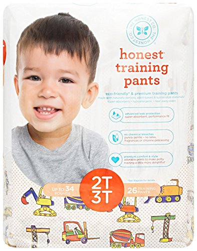 The Honest Company Disposable Training Pants, Construction Zone, 2T/3T, 26 ct