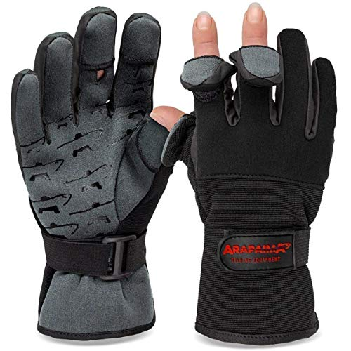 Angelhandschuhe Fishing Gloves Neopren Handschuhe Angeln Schwarz/Grau L