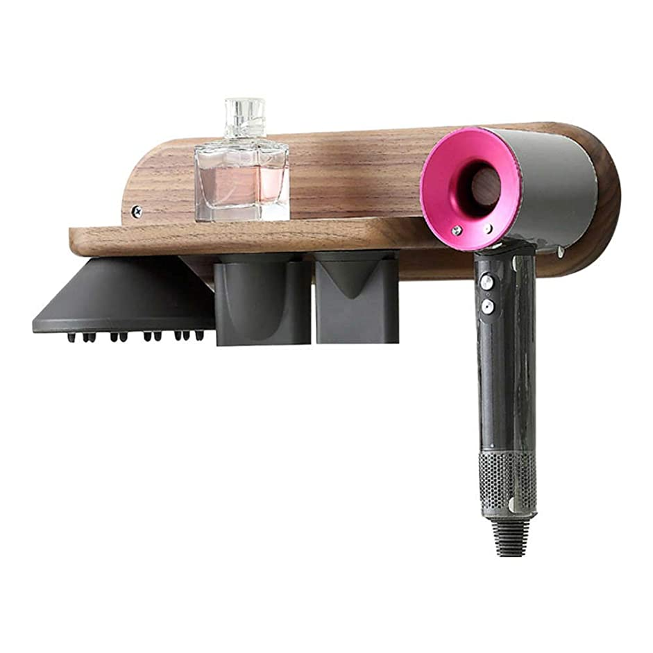 受信機ジャベスウィルソンバイオリニストJanjunsi Dyson Supersonic対応 木製 壁掛け式 ヘアドライヤー ホルダー ブラケット ブラッククルミ木材 スタンド バスルーム 収納 オーガナイザー Dyson Supersonic用 3ノズル