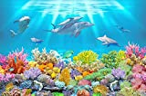 Papel Pintado Pared Papel Dormitorio Salon Decoración de Paredes Acuario Submarino De Delfines De Coral Fotomural 3D Papel Tapiz Custom Mural Pared 400x280cm