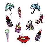 ZHOUBA - 10 parches bordados para pintalabios o coser, para planchar o aplicar con plancha, multicolor, Multi